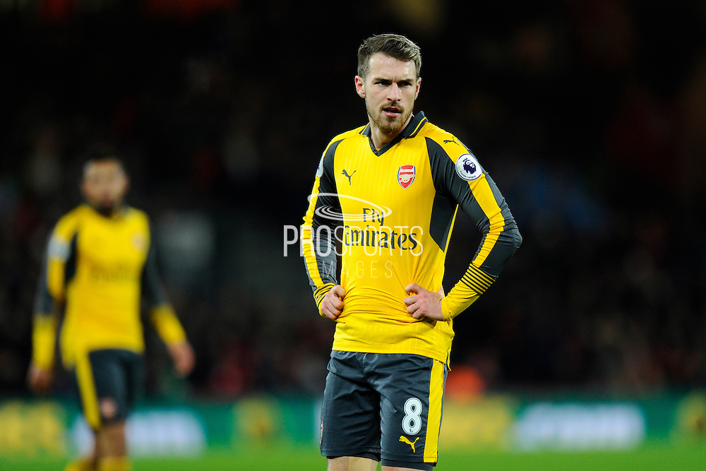 Aaron Ramsey (8) of Arsenal with his hands on his hips during the Premier League match between Bournemouth and Arsenal at the Vitality Stadium, Bournemouth, England on 3 January 2017. Photo by Graham Hunt.