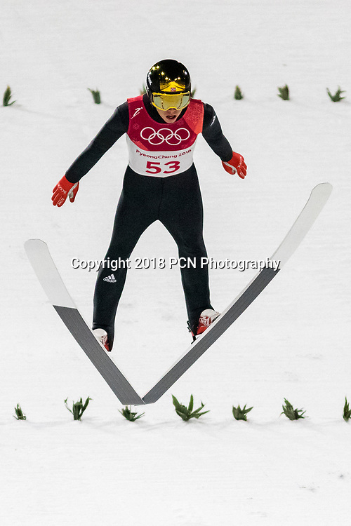 Johann Andre Forfang (NOR) competing in the Ski Jumping Men's Normal Hill qualification round at the Olympic Winter Games PyeongChang 2018