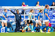 Brighton & Hove Albion manager Hope Powell during the FA Women's Super League match between Birmingham City Women and Brighton and Hove Albion Women at St Andrews, Birmingham United Kingdom on 12 September 2021.