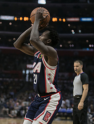 November 10, 2018 - Los Angeles, California, U.S - Patrick Beverley #21 of the Los Angeles Clippers takes a shot during their NBA game with the Milwaukee Bucks on Saturday November 10, 2018 at the Staples Center in Los Angeles, California. Clippers defeat Bucks in OT, 128-126. (Credit Image: © Prensa Internacional via ZUMA Wire)