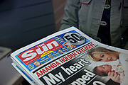 The Sun on Sunday newspaper first edition on sale at a newsagents in London, UK. The newspaper is seen as the replacement for the NOTW, from Murdoch's News International / Newscorp. It is reported that 3million copies sold on the first day.