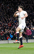 Ben Youngs of England celebrates his second try during the RBS 6 Nations match at Twickenham Stadium, Twickenham<br /> Picture by Andrew Tobin/Focus Images Ltd +44 7710 761829<br /> 21/03/2015
