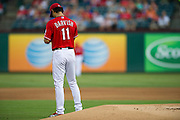 ARLINGTON, TX - JULY 09:  Yu Darvish #11 of the Texas Rangers takes a moment before throwing the first pitch during the first inning against the Houston Astros on July 9, 2014 at Globe Life Park in Arlington in Arlington, Texas.  (Photo by Cooper Neill/Getty Images) *** Local Caption *** Yu Darvish