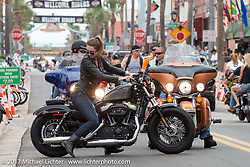 Main Street during Daytona Beach Bike Week. FL. USA. Sunday March 12, 2017. Photography ©2017 Michael Lichter.