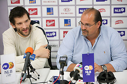 Player Dragisa Drobnjak and Aleksandar Dzikic, coach of Krka during press conference of NLB Basketball League one day before NLB Final Four Tournament 2011, on April 18, 2011 in Arena Stozice, Ljubljana, Slovenia.  (Photo By Vid Ponikvar / Sportida.com)