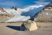 Icemaker Mountain (center) 2745 m (9006 ft) and Mount Guthrum 2695 m (8842 ft) seen from pumice covered slopes above Athelney Pass, Coast Mountains British Columbia Canada