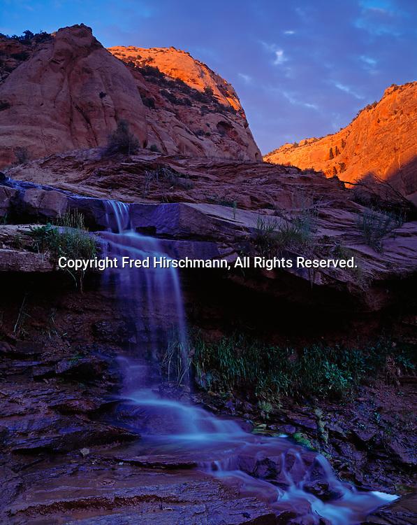 Waterfall on Keet Seel Wash, Navajo Reservation, Arizona.
