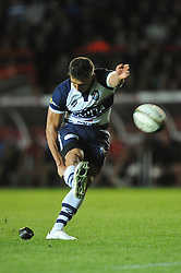 Bristol Rugby's Gavin Henson scores a penalty - Photo mandatory by-line: Dougie Allward/JMP - Mobile: 07966 386802 - 17/04/2015 - SPORT - Rugby - Bristol - Ashton Gate - Bristol Rugby v Jersey - Greene King IPA Championship