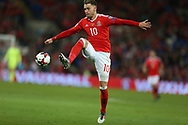 Aaron Ramsey of Wales in action. Wales v Austria , FIFA World Cup qualifier , European group D match at the Cardiff city Stadium in Cardiff , South Wales on Saturday 2nd September 2017. pic by Andrew Orchard, Andrew Orchard sports photography