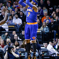 24 January 2013: New York Knicks small forward Carmelo Anthony (7) takes a jumpshot during the New York Knicks 89-86 victory over the  at the TD Garden, Boston, Massachusetts, USA.
