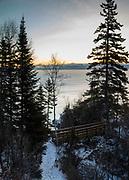Sunrise over Lake Superior on a very cold January morning. Near Lutsen, Minnesota, USA.