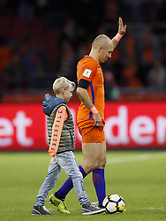 (L-R)  Luka Robben, Arjen Robben of Holland during the FIFA World Cup 2018 qualifying match between The Netherlands and Sweden at the Amsterdam Arena on October 10, 2017 in Amsterdam, The Netherlands