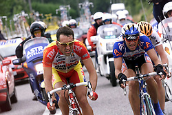 16 July 1998 - Cycling - Tour de France - Cholet / Chateroux<br /> GOUVENOU(THIERRY) ROSCIOLI(FABIO)<br /> Photo: Presse Sports / Offside