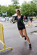 Female competitor begins the running segment of the 2018 Hague Endurance Festival Sprint Triathlon