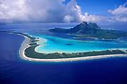 Stunning aerial image of Bora Bora, French Polynesia, Tahiti by travel-photographer-randy-wells-videographer-filmmaker-cinematographer-storyteller-writer-location-and-studio-specialist