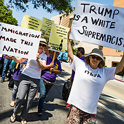 Demonstrators take to the streets of Los Angeles to protest President Trump's decision hours earlier to end DACA (Deferred Action for Childhood Arrivals).