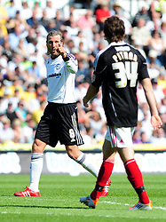 Derby County's Robbie Savage plays his last game at Pride Park before retiring from football, looses none of his charm as he fires a volley of abuse at Bristol City's Brett Pitman - Photo mandatory by-line: Joe Meredith/JMP - 30/04/2011 - SPORT - FOOTBALL - Championship - Derby County v Bristol City  - Pride Park, Derby, England