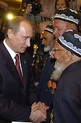 Moscow, Russia, 08/05/2005..Russian President Vladimir Putin and leaders of the Commonwealth of Independent States meet war veterans for a gala concert at the Bolshoi Theatre.