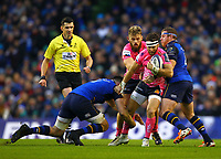 Rugby Union - 2017 / 2018 European Rugby Champions Cup - Pool Three: Leinster vs. Exeter Chiefs<br /> <br /> Exeter's Nic White in action against Leinster's Jack Conan, left, and Sean Cronin, right, at Aviva Stadium, Dublin.<br /> <br /> COLORSPORT/KEN SUTTON