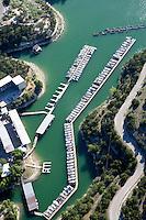 Aerial of boats at marina on Lake Travis, near Austin, Texas.