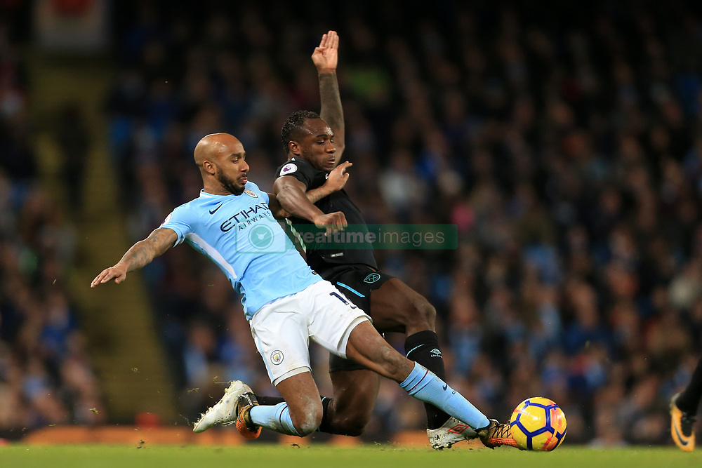 3rd December 2017 - Premier League - Manchester City v West Ham United - Fabian Delph of Man City battles with Michail Antonio of West Ham - Photo: Simon Stacpoole / Offside.