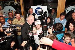 10.02.2013, Oh la la - Gasthaus Brunner, AUT, FIS Weltmeisterschaften Ski Alpin, Schladming, im Bild Goldmedailllen Gewinnerin Marion Rolland (FRA) mit Juergen Winter, Buergermeister der Stadt Schladming // Marion Rolland of France poses with her Gold Medal and meets Juergen Winter, mayor of Schladming, during FIS Ski World Championships 2013 at the Oh la la - Gasthaus Brunner, Schladming, Austria on 2013/02/10. EXPA Pictures © 2013, PhotoCredit: EXPA/ Martin Huber.