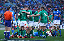 February 24, 2019 - Rome, Italy - Italy v Ireland - Rugby Guinness Six Nations.Ireland celebrates after the try scored by Keith Earls at Olimpico Stadium in Rome, Italy on February 24, 2019. (Credit Image: © Matteo Ciambelli/NurPhoto via ZUMA Press)