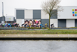 Peloton in single file at Driedaagse Brugge - De Panne 2018 - a 151.7 km road race from Brugge to De Panne on March 22, 2018. Photo by Sean Robinson/Velofocus.com