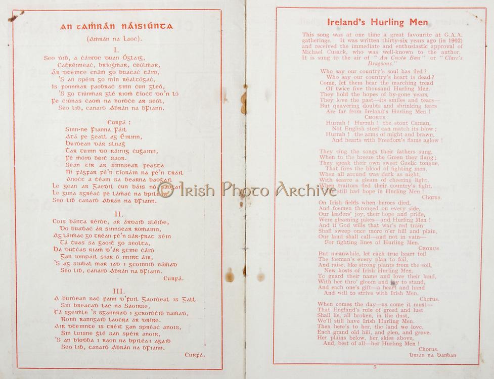All Ireland Senior Hurling Championship Final,.Brochures,.04.09.1938, 09.04.1938, 4th September 1938, .Dublin 2-5, Waterford 1-6,.Minor Dublin v Cork,.Senior Dublin v Waterford,.Croke Park, ..Songs, Ireland's Hurling Men, An Tamran Naisiunta,