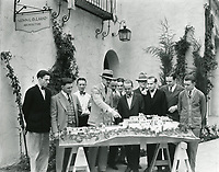 1929 Architect, John DeLario, points to his scale model of the proposed Mack Sennet home in to be built in Hollywoodland. The house was never built.