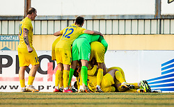 Players of Domzale celebrate after Damjan Vuklisevic of Domzale scored second goal for Domzale during football match between NK Domzale and NK CB24 Tabor Sezana in 22nd Round of Prva liga Telekom Slovenije 2020/21, on February 21, 2021 in Sports park Domzale, Slovenia. Photo by Vid Ponikvar / Sportida