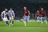 West Ham United forward Marko Arnautovic (7) takes on Brighton and Hove Albion defender Bruno (2) during the Premier League match between Brighton and Hove Albion and West Ham United at the American Express Community Stadium, Brighton and Hove, England on 5 October 2018.