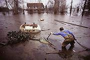 California. Sacramento River Delta flood from broken levee, Holland Tract. 1980.