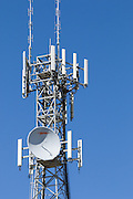 Provincial  cellular, microwave and telecom communications systems lattice tower in Cobram, Victoria, Australia. <br /> <br /> Editions:- Open Edition Print / Stock Image