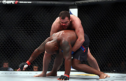10.04.2016, Arena, Zagreb, CRO, UFC Fight Night, im Bild Derrick Lewis vs. Gabriel Gonzaga. // during the UFC Fight Night at the Arena in Zagreb, Croatia on 2016/04/10. EXPA Pictures © 2016, PhotoCredit: EXPA/ Pixsell/ Slavko Midzor<br /> <br /> *****ATTENTION - for AUT, SLO, SUI, SWE, ITA, FRA only*****