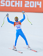 Italy's Christof Innerhofer celebrates after his run in the men's downhill skiing final at the Sochi 2014 Winter Olympics on February 9, 2014 in Krasnaya Polyana Russia. Innerhofer won the silver medal.  (UPI)