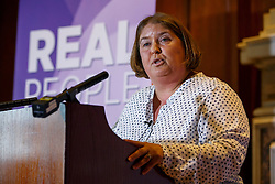 "© Licensed to London News Pictures. 08/08/2016. London, UK. UKIP leadership contender LISA DUFFY gives a speech to set out her ""Positive Vision for British Islam"" at County Hall in London on Monday, 8 August 2016. Cllr Duffy said she supports the ideas of banning face veils and burqas from the public places in the UK. Photo credit: Tolga Akmen/LNP"