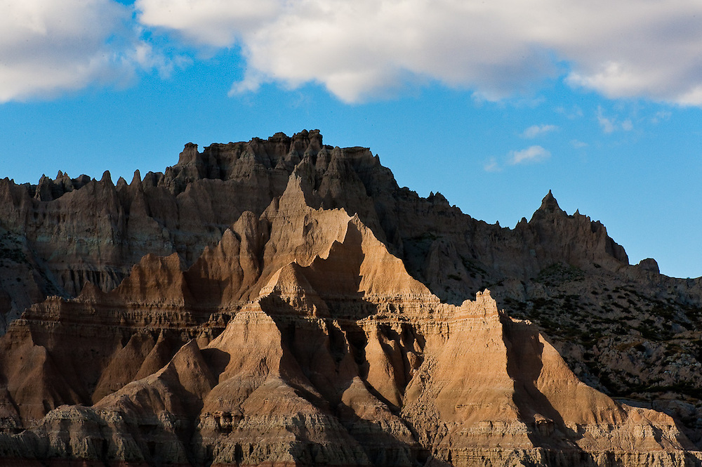 Dramatic light on a rock formation in Badlands National Park, South Dakota.