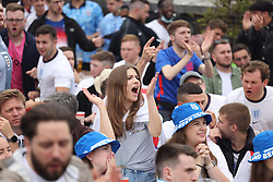 © Licensed to London News Pictures. 29/06/2021. London, UK. England fans react during the Euro 2020 round of 16 game between England and Germany at the Skylight Rooftop bar in Tobacco Dock, east London. Photo credit: Ben Cawthra/LNP