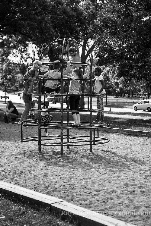 Children playing in the Minnehaha Park Playground.