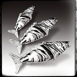 Murano Glass Fish Meets Fine Art in monochrome on graduated background with frame edge