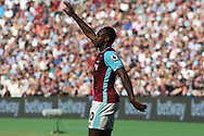 Michail Antonio of West Ham United requests to be brought off after he pulls his hamstring. Premier league match, West Ham Utd v Swansea city at the London Stadium, Queen Elizabeth Olympic Park in London on Saturday 8th April 2017.<br /> pic by Steffan Bowen, Andrew Orchard sports photography.