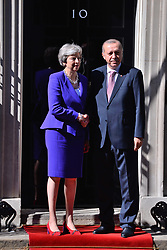 © Licensed to London News Pictures. 15/05/2018. London, UK. President of Turkey Recep TAYYIP ERDOGAN meets BritIsh Prime Minister THERESA MAY at No.10 Downing St during a three day visit to the UK.<br /> Photo credit: Ray Tang/LNP