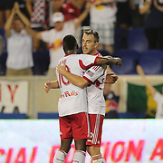 Eric Alexander, (right), New York Red Bulls, is congratulated by Lloyd Sam after scoring his sides fourth goal during the New York Red Bulls Vs Columbus Crew, Major League Soccer regular season match at Red Bull Arena, Harrison, New Jersey. USA. 12th July 2014. Photo Tim Clayton