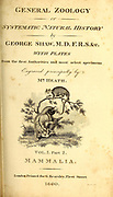 Title Page General zoology, or, Systematic natural history Part 2 by Shaw, George, 1751-1813; Stephens, James Francis, 1792-1853; Heath, Charles, 1785-1848, engraver; Griffith, Mrs., engraver; Chappelow. Copperplate Printed in London in 1800