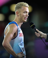 London, August 08 2017 . Kyle Langford, Great Britain, speaks to the media after being beaten into 4th in the men's 400m final on day five of the IAAF London 2017 world Championships at the London Stadium. © Paul Davey.