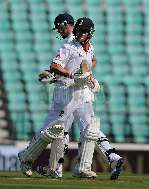 Kevin Pietersen of England and Jonathan Trott of England run between the wickets during day one of the 4th Airtel Test Match between India and England held at VCA ground in Nagpur on the 13th December 2012..Photo by  Pal Pillai/BCCI/SPORTZPICS .