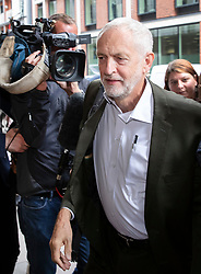 © Licensed to London News Pictures. 04/09/2018. London, UK. Jeremy Corbyn arrives at Labour Party headquarters in London to attend a National Executive Committee meeting. The Labour Party's ruling body is expected to vote on whether to adopt, in full, the IHRA (International Holocaust Remembrance Alliance) definition of anti-Semitism. Photo credit: Peter Macdiarmid/LNP