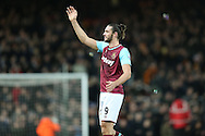 Andy Carroll of West Ham United waving to his family after full time. The Emirates FA cup, 3rd round match, West Ham Utd v Wolverhampton Wanderers at the Boleyn Ground, Upton Park  in London on Saturday 9th January 2016.<br /> pic by John Patrick Fletcher, Andrew Orchard sports photography.