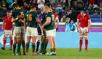 Rugby Union - 2019 Rugby World Cup - Semi-Final: Wales vs. South Africa<br /> <br /> Welsh players dejected while South Africa celebrate at the final whistle  at International Stadium Yokohama, Kanagawa Prefecture, Yokohama City.<br /> <br /> COLORSPORT/LYNNE CAMERON